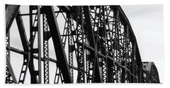 Beach Sheet featuring the photograph Red River Train Bridge #4 by Robert ONeil