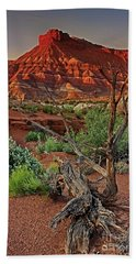 Beach Towel featuring the photograph Red Rock Butte And Juniper Snag Paria Canyon Utah by Dave Welling