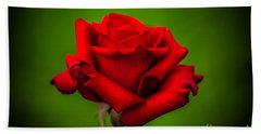 Red Rose Green Background Beach Towel