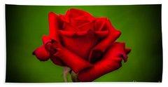 Red Rose Green Background Beach Sheet