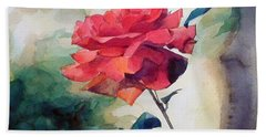 Watercolor Of A Single Red Rose On A Branch Beach Sheet