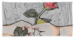Red Rose Sketch By Jan Marvin Studios Beach Sheet