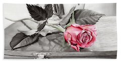 Red Rosebud On The Jewelry Box Beach Towel