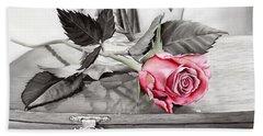 Red Rosebud On The Jewelry Box Beach Towel
