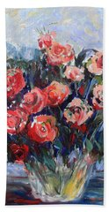 Beach Towel featuring the painting Red Roses In Glass by Avonelle Kelsey