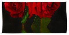 Red Roses Reflected Beach Sheet