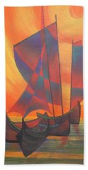 Beach Towel featuring the painting Red Sails In The Sunset by Tracey Harrington-Simpson