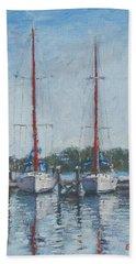 Red Sails Under Gray Sky Beach Sheet