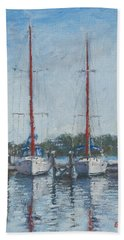 Red Sails Under Gray Sky Beach Towel