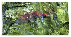 Beach Towel featuring the photograph Red Salmon In Steep Creek by Cathy Mahnke