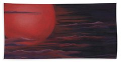 Beach Towel featuring the painting Red Sky A Night by Michelle Joseph-Long