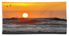 Red Sky At Night Sailors  Delight Beach Sheet by AJ  Schibig