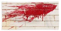 Red Splash On Brick Wall Beach Sheet