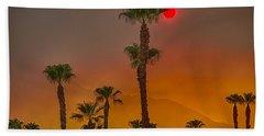 Red Sun Wild Fire Hdr Beach Towel