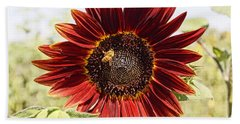 Red Sunflower And Bee Beach Sheet by Kerri Mortenson