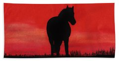 Red Sunset Horse Beach Towel