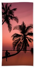 Red Sunset In The Tropics Beach Towel
