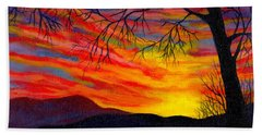 Red Sunset Beach Towel