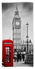 Red Telephone Booth And Big Ben In London Beach Towel by Michal Bednarek