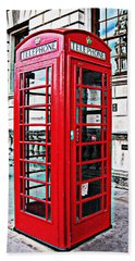Red Telephone Box Call Box In London Beach Towel by Tom Conway