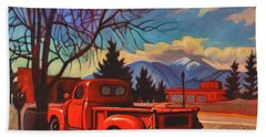 Red Truck Beach Towel by Art James West