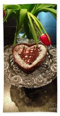 Red Tulip And Chocolate Heart Dessert Beach Sheet