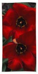 Red Tulip Pair Beach Towel