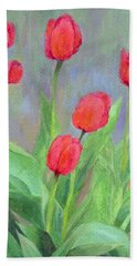 Red Tulips Colorful Painting Of Flowers By K. Joann Russell Beach Towel by Elizabeth Sawyer