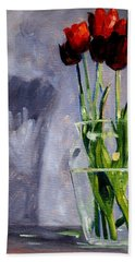 Red Tulips Beach Sheet by Nancy Merkle