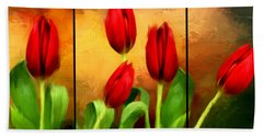 Red Tulips Triptych Beach Towel by Lourry Legarde