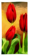 Red Tulips Triptych Section 2 Beach Towel by Lourry Legarde