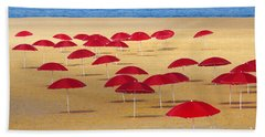 Red Umbrellas Beach Towel