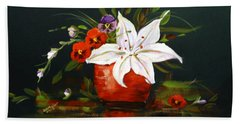 Red Vase With Lily And Pansies Beach Sheet by Dorothy Maier