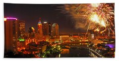 Red White And Boom Photo Beach Sheet