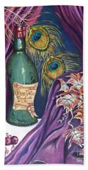 Red Wine And Peacock Feathers Beach Towel