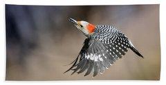 Redbelly Woodpecker Flight Beach Towel