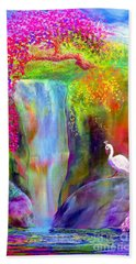 Waterfall And White Peacock, Redbud Falls Beach Towel