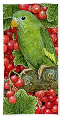Redcurrant Parakeet Beach Sheet by Ditz