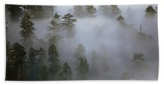 Redwood Creek Overlook With Giant Redwoods  Beach Towel