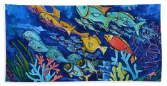 Beach Towel featuring the painting Reef Fish by Patti Schermerhorn
