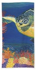 Beach Towel featuring the painting Reef Rider by Karen Zuk Rosenblatt
