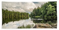 Beach Towel featuring the photograph Reflection Lake In New York by Debbie Green