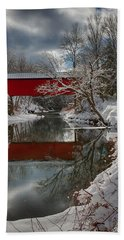 reflection of Slaughterhouse covered bridge Beach Towel