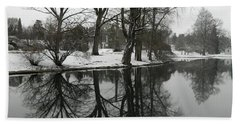 Reflection Pond Spring Grove Cemetery Beach Sheet by Kathy Barney
