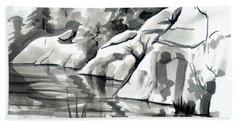 Reflections At Elephant Rocks State Park No I102 Beach Sheet