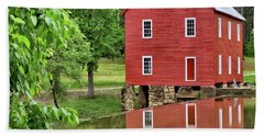 Reflections Of A Retired Grist Mill - Square Beach Towel by Gordon Elwell
