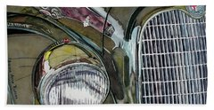 Beach Towel featuring the painting Reflections On 1931 Alfa Romeo Milano by Anna Ruzsan