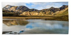 Reflections On Landmannalaugar Beach Towel
