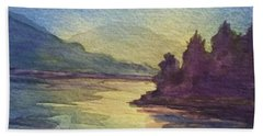 Beach Towel featuring the painting Reflections On North South Lake by Ellen Levinson