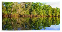 Reflections On The River Beach Towel by Debra Forand